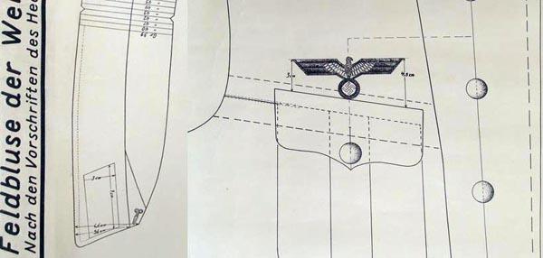 Posición del aguila nacional del pecho en una feldbluse (Patrón de corte de las feldbluse)