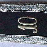 Hombrera con numeración (10) de suboficial del 10 Regimiento de infanteria